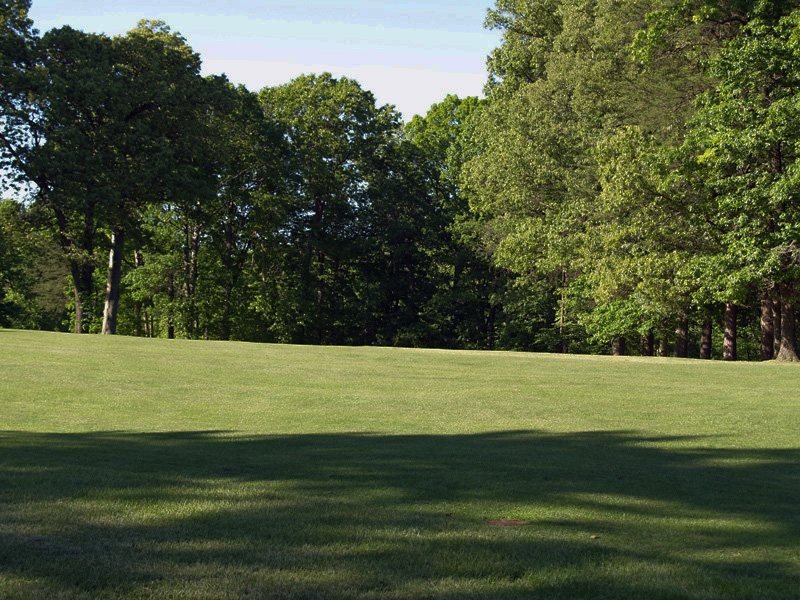 View of first hole toward the green from the left center of fairway. Click to enlarge