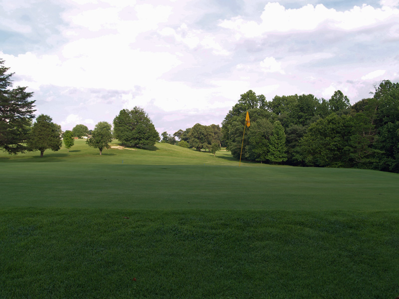 View of tenth hole from behind the green toward the tee. Click to enlarge