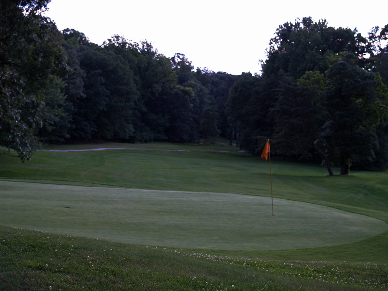 View of eighteenth hole from behind the green toward the tee. Click to enlarge