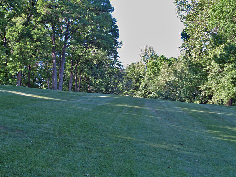 View of fifth hole uphill toward the green from about 120 yrds. Click to enlarge